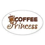 Coffee Princess Oval Sticker