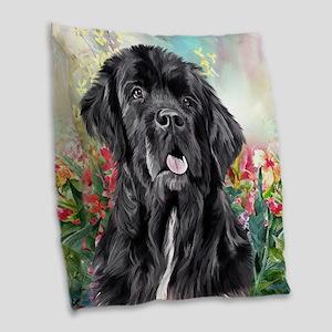 Newfoundland Painting Burlap Throw Pillow