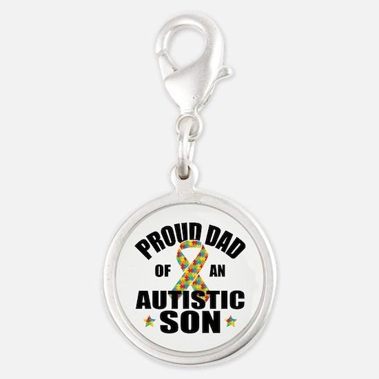 Autism Dad Silver Round Charm