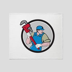 Plumber Running Monkey Wrench Circle Cartoon Throw