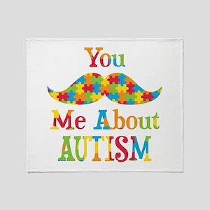 Mustache Autism Throw Blanket