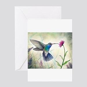 Watercolor painting greeting cards cafepress sweet nectar hummingbird greeting cards m4hsunfo