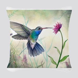 Sweet Nectar Hummingbird Woven Throw Pillow