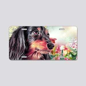 Dachshund Painting Aluminum License Plate
