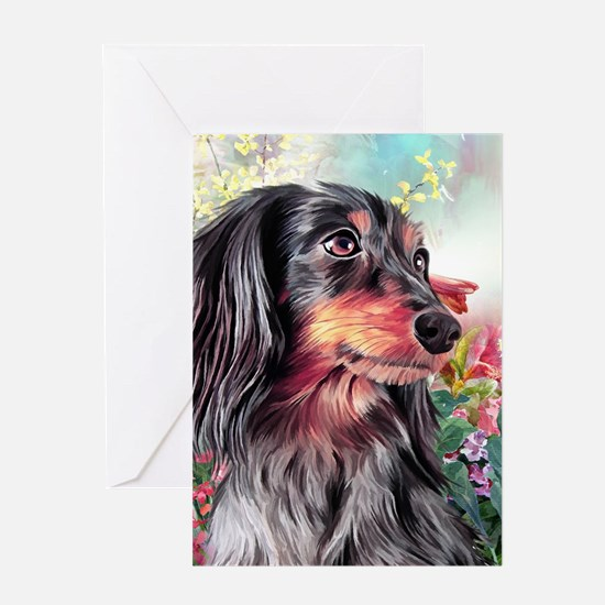 Dachshund Painting Greeting Cards