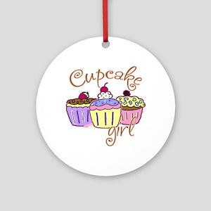 Cupcake Girl Ornament (Round)