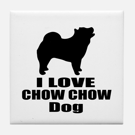 I Love Chow Chow Dog Tile Coaster