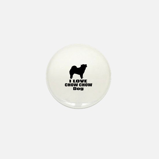 I Love Chow Chow Dog Mini Button