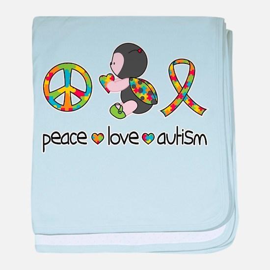Peace Love Autism baby blanket
