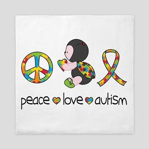 Peace Love Autism Queen Duvet