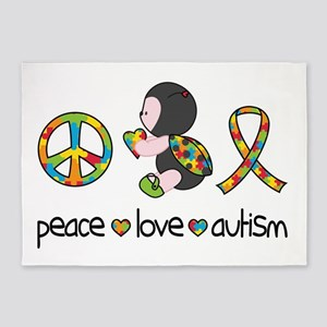 Peace Love Autism 5'x7'Area Rug