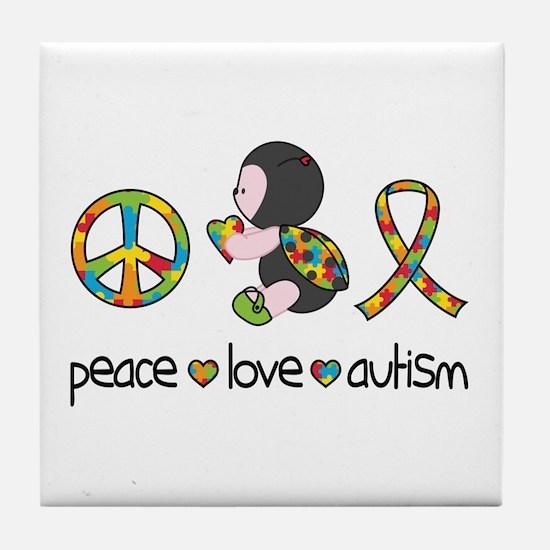 Peace Love Autism Tile Coaster
