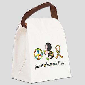 Peace Love Autism Canvas Lunch Bag