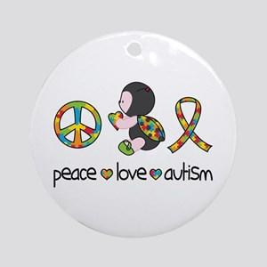 Peace Love Autism Round Ornament