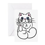 Longhair ASL Kitty Greeting Cards (Pk of 10)