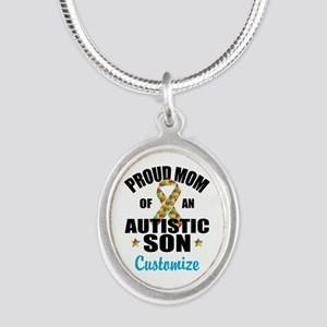 Autism Mom Silver Oval Necklace