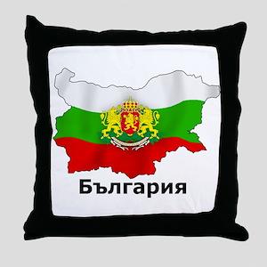 Bulgaria flag map Throw Pillow