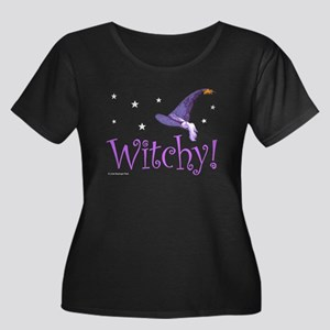 Witchy Hat Women's Plus Size Scoop Neck Dark T-Shi
