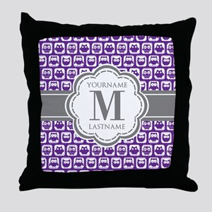 Purple Owl Personalized Throw Pillow