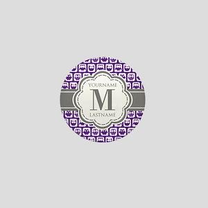 Purple Owl Personalized Mini Button
