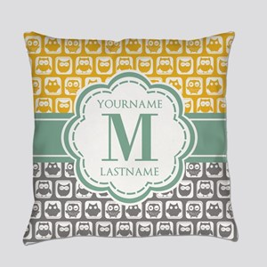 Yellow and Gray Owls, Customized M Everyday Pillow