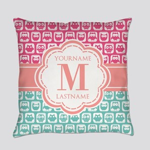 Pink and Teal Owls, Personalized M Everyday Pillow