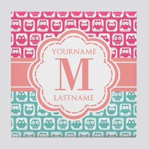 Pink and Teal Owls, Personalized Mono Tile Coaster
