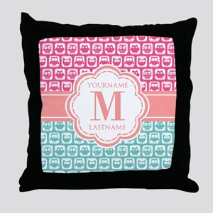 Pink and Teal Owls, Personalized Mono Throw Pillow