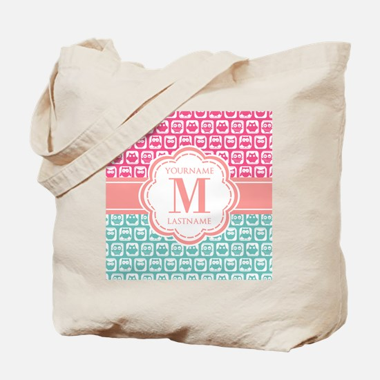 Pink and Teal Owls, Personalized Monogram Tote Bag