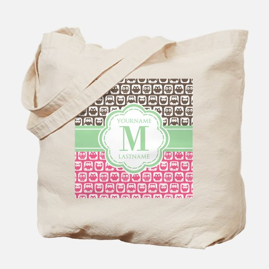 Personalized Monogram, Pink and Brown Owl Tote Bag