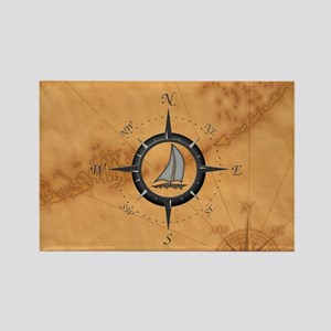 Sailboat And Compass Rose Magnets