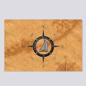 Sailboat And Compass Rose Postcards (Package of 8)