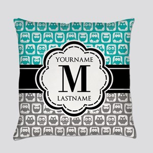 Custom Monogram, Teal and Gray Owl Everyday Pillow