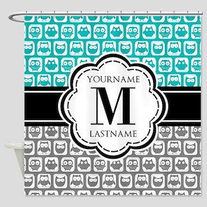 Custom Monogram, Teal and Gray Owl Shower Curtain