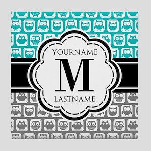 Custom Monogram, Teal and Gray Owl Tile Coaster