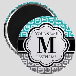 Custom Monogram, Teal and Gray Owl Magnet