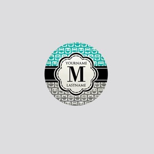 Custom Monogram, Teal and Gray Owl Mini Button