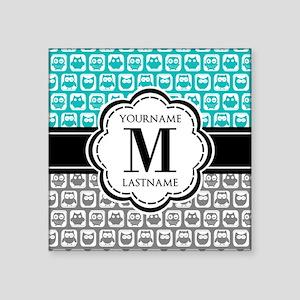"Custom Monogram, Teal and G Square Sticker 3"" x 3"""