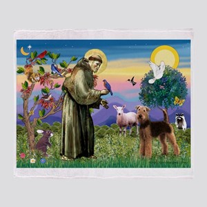 St Francis / Airedale Throw Blanket