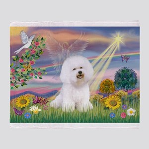 Cloud Angel & Bichon Throw Blanket