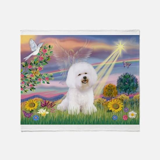 Cloud Angel & Bichon Throw Blanket