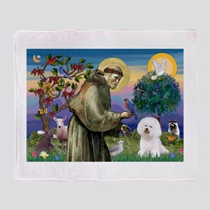 St Francis / Bichon Frise Throw Blanket