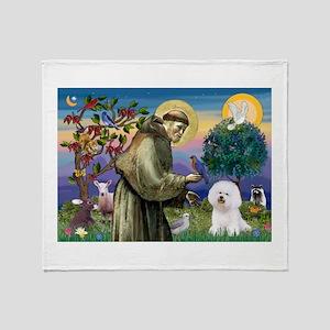 St Francis / Bichon Frise Throw Blanket
