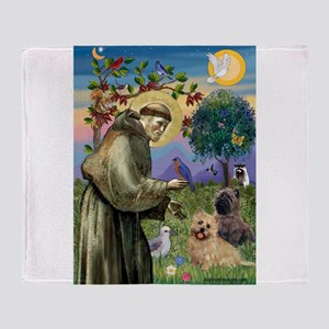 St Francis / Cairn Terrier Throw Blanket