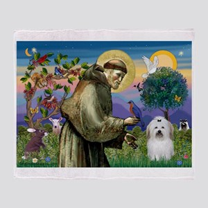 St Francis / Coton de Tulear Throw Blanket