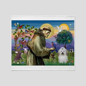 St Francis / Coton de Tulear Throw Blanket