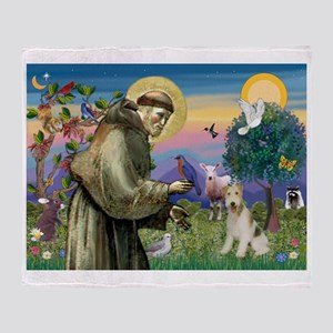 St Francis / Wire Fox Terrier Throw Blanket