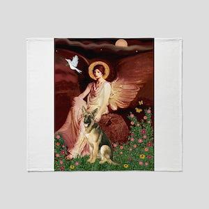 Seated Angel / German Shepher Throw Blanket