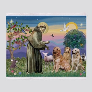 St Francis / 3 Goldens Throw Blanket