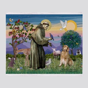 St Francis Golden Throw Blanket